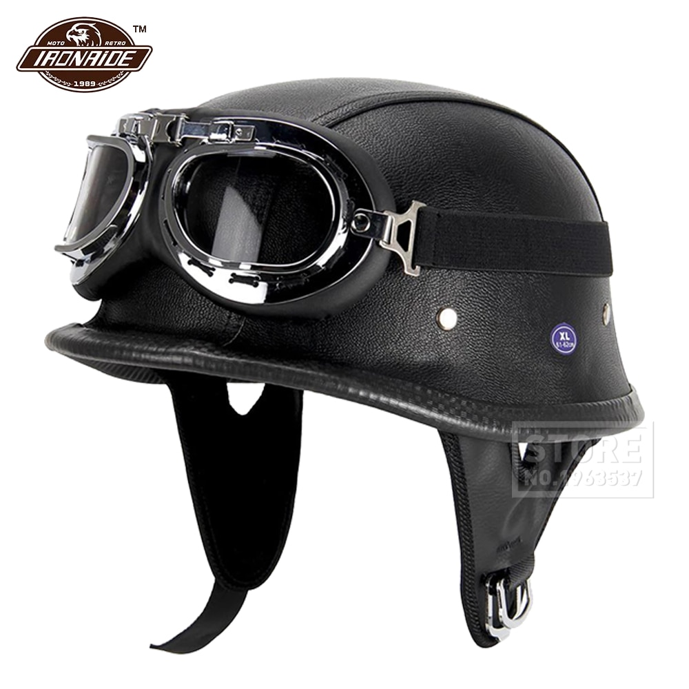 New Leather Motorcycle Helmet German Motorcycle Open Face Half Helmet Chopper Biker Pilot DOT BLACK new german motorcycle wwii style half helmet chopper biker pilot goggles open face moto motocicleta with free goggle and mask
