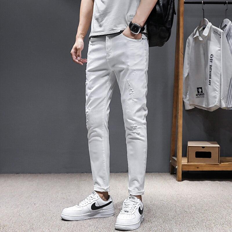 Джинсы мужские облегающие, штаны из денима, брюки стрейч, штаны для мужчин, уличная одежда, белые