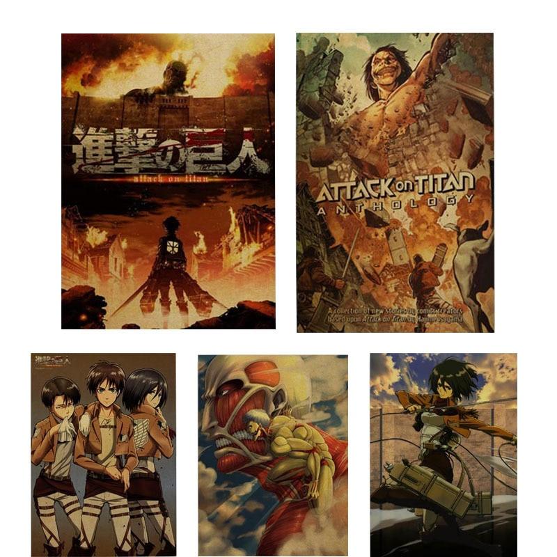 Плакаты из аниме «атака на Титанов», печать на крафт-бумаге, четкое изображение для комнаты, бара, дома, комнаты, Художественная печать, наст...