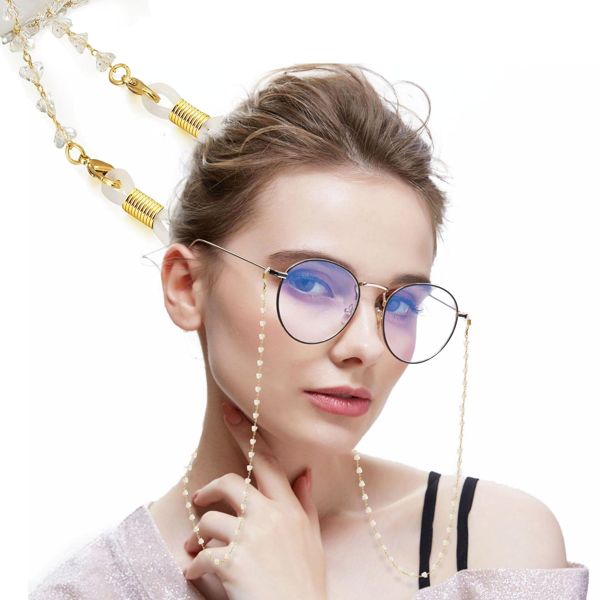 1 шт./лот прозрачные хрустальные цепочки для очков медные солнцезащитные очки шнур на шею держатель тригональные Кристальные цепочки для очков