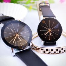 1Pc Fashion Men Women Faux Leather Band Wristwatch Round Pointer Quartz Watch Lovers Clock Смот�