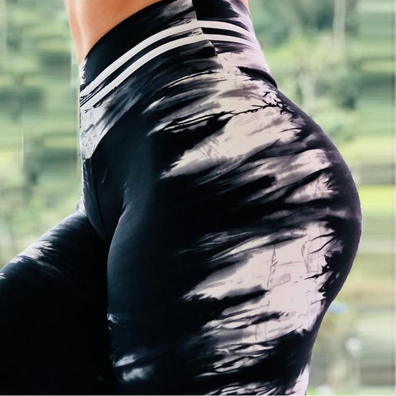 MyZyQg Women Black White Printing Fitness Sport Leggings Yoga Pants Slim Running Tights Sportswear Sports Pants Trousers