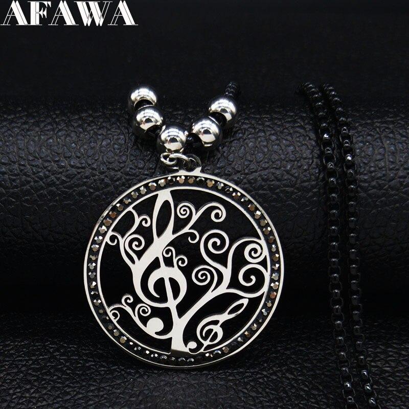 ¡Moda 2020! collar de cadena de acero inoxidable Note Tree of Life para mujer, collar de declaración de Color negro, collar de joyería para mujer N83S01