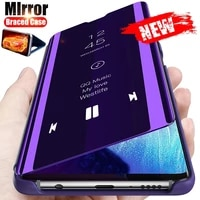 phone case for huawei mate p40 y7p 40 lite pro plus e 5g 4g 2020 mirror smart flip shockproof holder standing protection cover