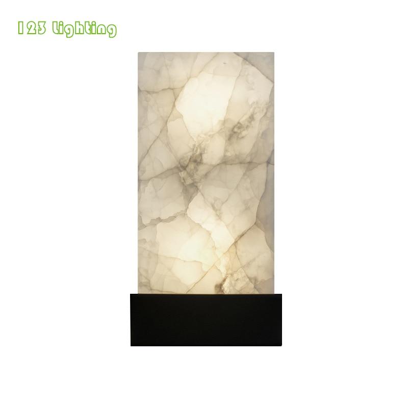 Luz de pared de mármol Natural rectangular, lámparas de pared de salón LED nórdicas, Metal dorado/Negro 90-260V, luminaria de pasillo, aplique para Loft