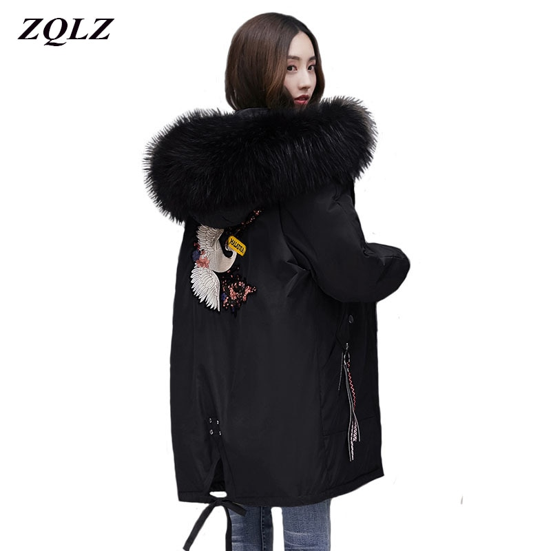 ZQLZ Winter Jacket Women 2020 New Embroidery Casual Hooded Warm Cotton Padde Coat Female Loose Black Long Parka Mujer new winter jacket women removable warm wool collar parka casual long coat double faced cotton coat black female jacket