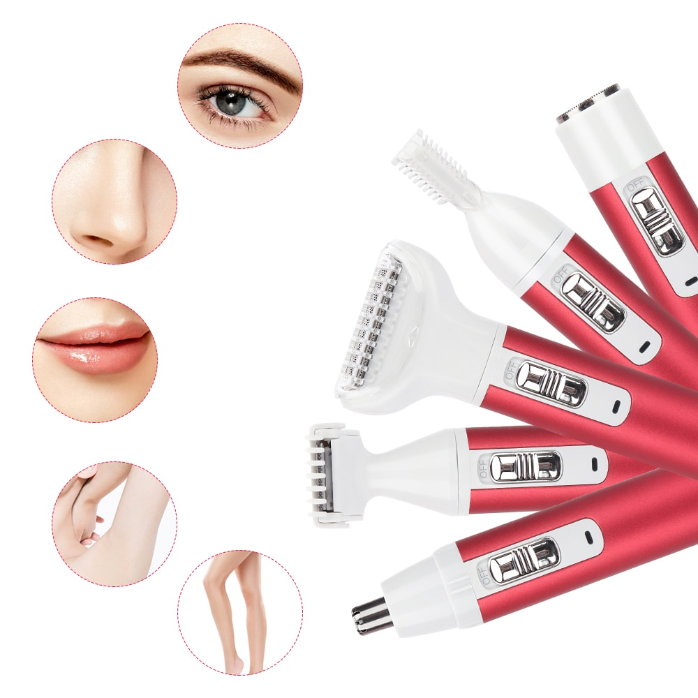 5 In 1 Electric Hair Remover Rechargeable Lady Shaver Nose Hair Trimmer Eyebrow Shaper Leg Armpit Bikini Trimmer Women Epilator enlarge