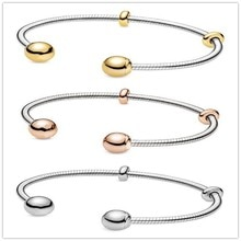 Pulsera de plata de ley 925, pulsera abierta de estilo serpiente con momentos de oro rosa, pulsera de moda europea Diy con cuentas