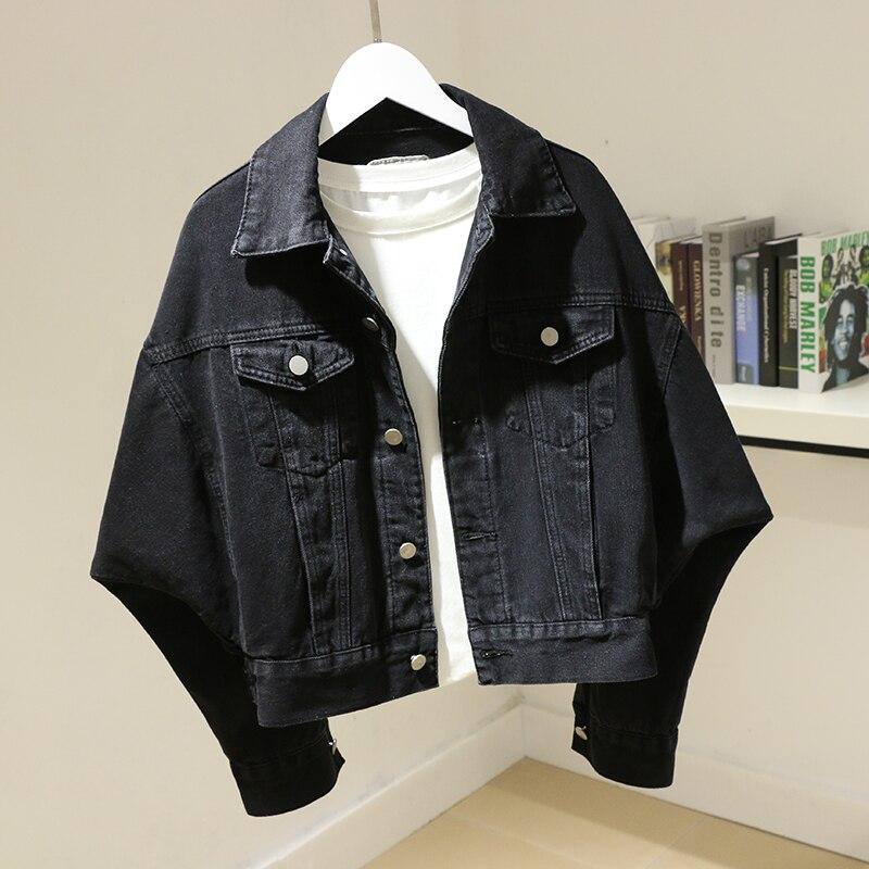 Куртка женская джинсовая с рукавом летучая мышь, свободная короткая верхняя одежда в стиле Харадзюку, корейская мода, верхняя одежда, весна