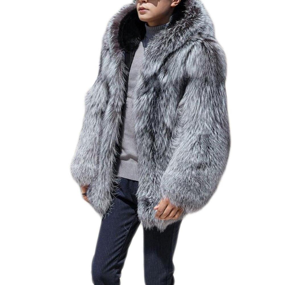الرجال الشتاء الدافئة الفاخرة فو الفراء معطف سترة مع مقنعين سميكة معطف طويل معطف أبلى