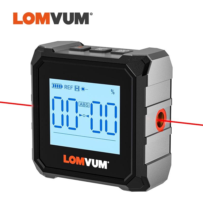 LOMVUM المهنية المنقلة الرقمية الميل زاوية قياس صندوق الليزر مستوى حاكم USB قابلة للشحن الميل المغناطيسي قاعدة