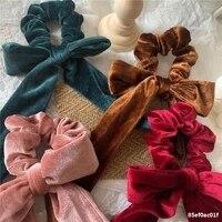 1pc velvet hair rope hairbands elastic hair bands scrunchie ribbon bow ponytail holder for women girls hair accessories headband