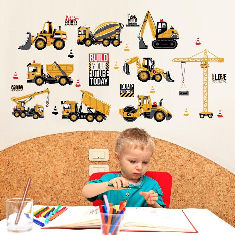 Мультяшные Тракторные наклейки на стену, сделай сам, машины, наклейки на стену, украшение для детских комнат, для мальчиков и девочек, для детской спальни, домашний декор