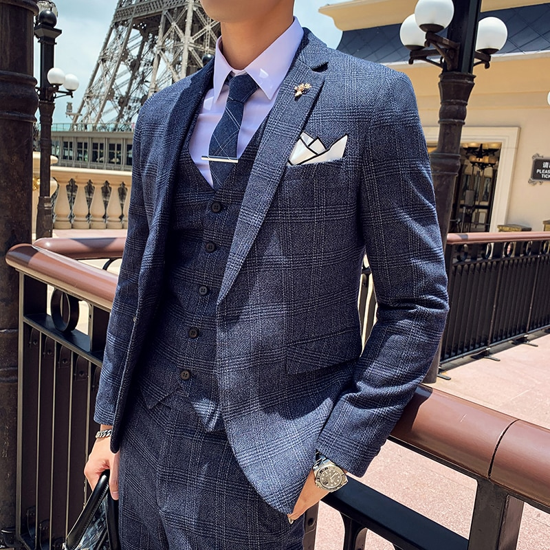 The New Arrival Suit Men Three-piece Korean Version British Slim Check Wedding Casual Business High Quality Mens