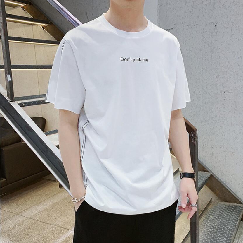 Футболка мужская повседневная свободного покроя, базовая Базовая рубашка с короткими рукавами, стрейчевая однотонная одежда, лето 2019