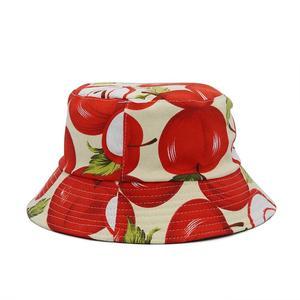 2021 Cotton four seasons Fruit Apple Print Bucket Hat Fisherman Hat Outdoor Travel Hat Sun Cap Hats for Men and Women 400