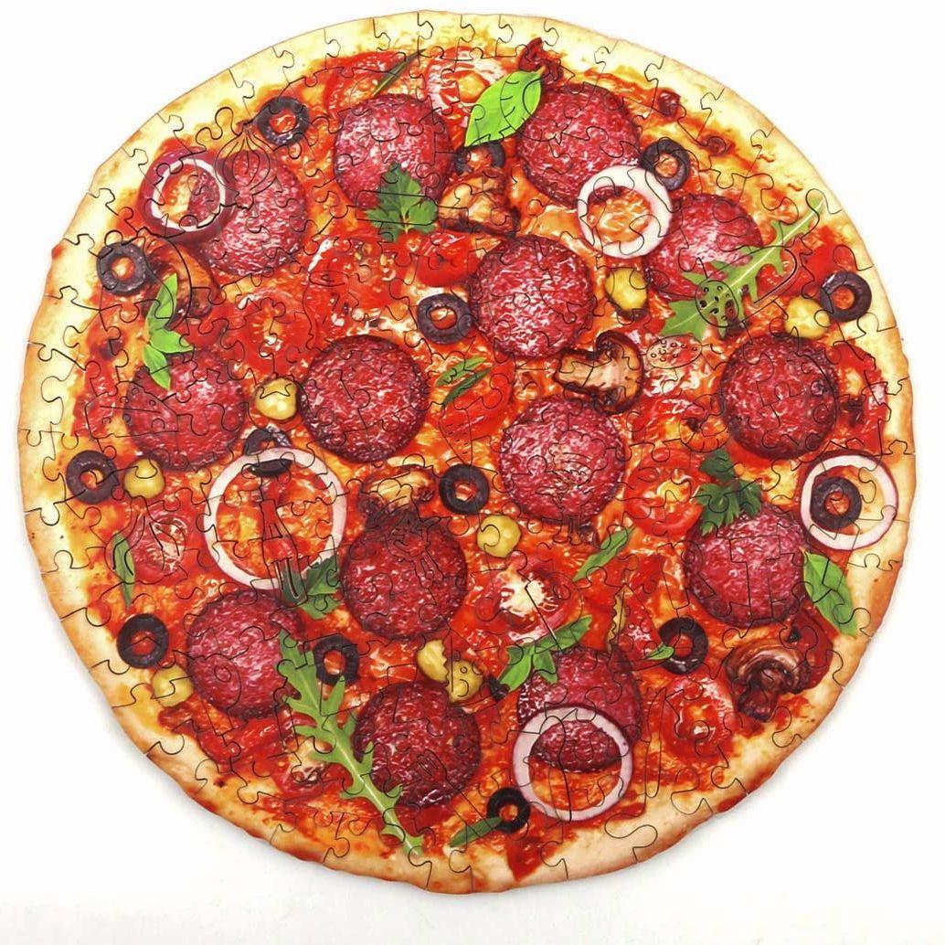 Деревянные пазлы для пиццы для взрослых и детей, деревянные головоломки, 3D деревянные пазлы «сделай сам», поделки, подарки, детская развиваю...