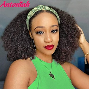 Antoniah HeadBand Wig Afro Kinky Curly Wigs for Black Women Short Curly Bob Full Scarf Wig  Jerry Curl  Head Band Wig Heat Resis