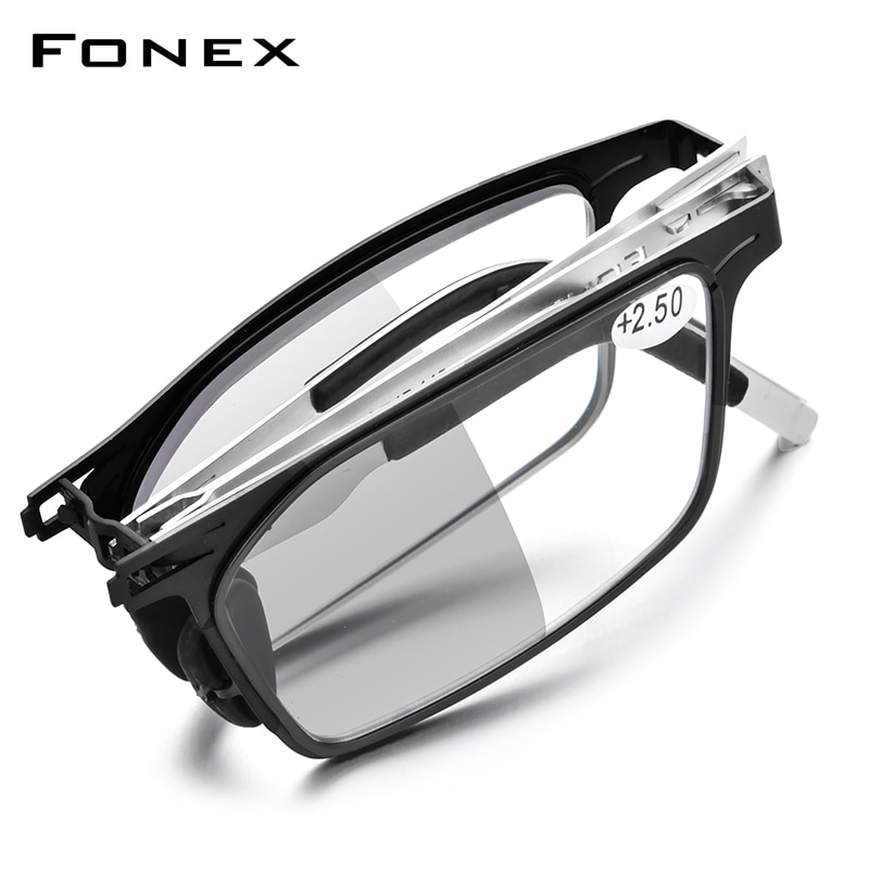 FONEX Photochromic Gray Anti Blue Blocking Folding Reading Glasses Men Women 2021 Hyperopia Reader Screwless Eyeglasses LH015