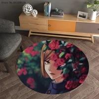 jujutsu kaisen round carpet 3d print cartoon anime carpets entrance outdoor floor rug home custom mat home textile floor carpet