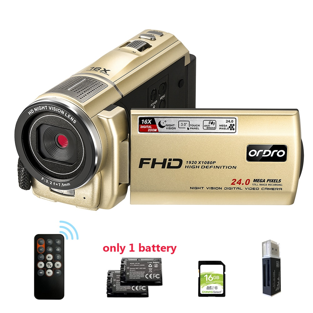 Cámara de vídeo dorada Vlog, Ordro F7, Full HD, 16X, 1080P, Zoom...