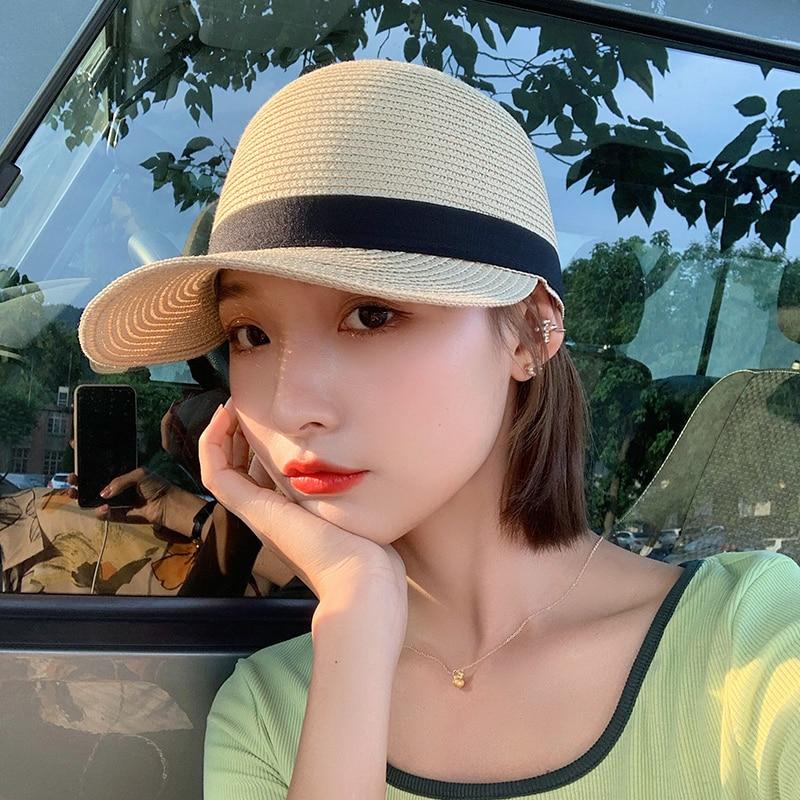 Straw Hat Female Beach Sun Protection Sun-Proof Woven Peaked Cap Ins Trendy Summer Thin Hat Korean S