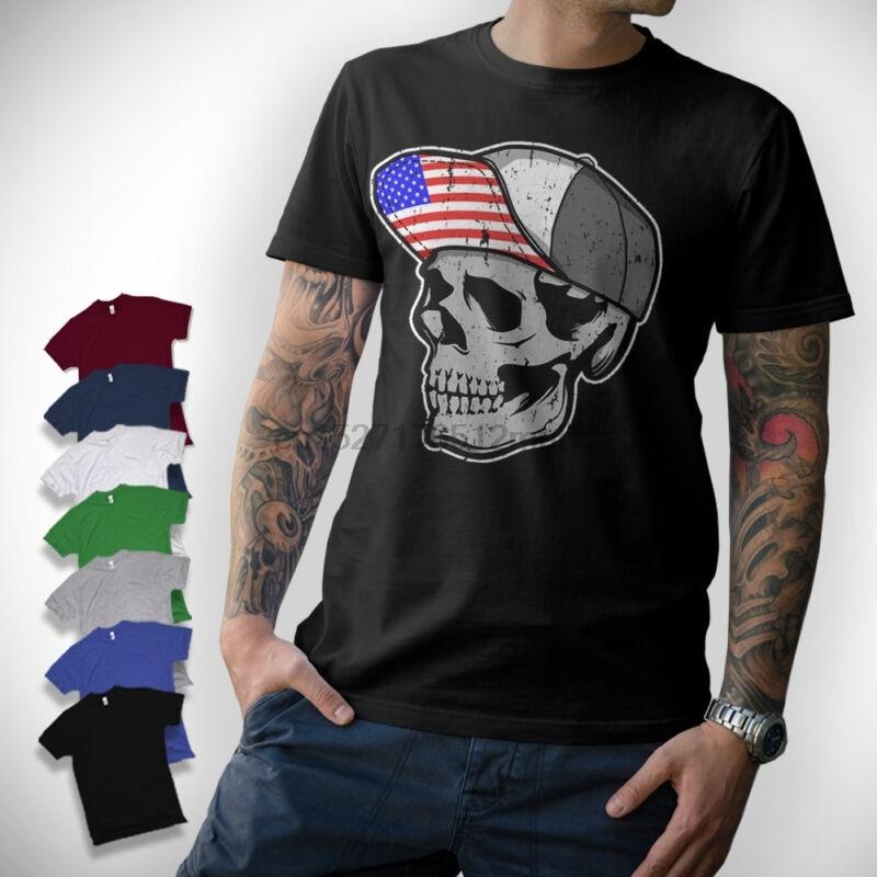 Camiseta con gorra de calavera-BIKER V8 TOTENKOPF bandera AMERIKA S-XXL