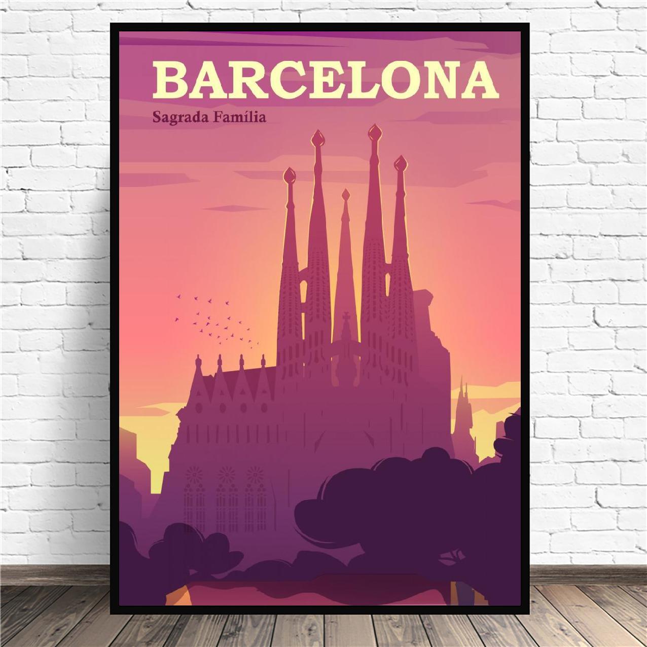 Cuadro en lienzo de Viaje de España y Barcelona, imágenes artísticas de...