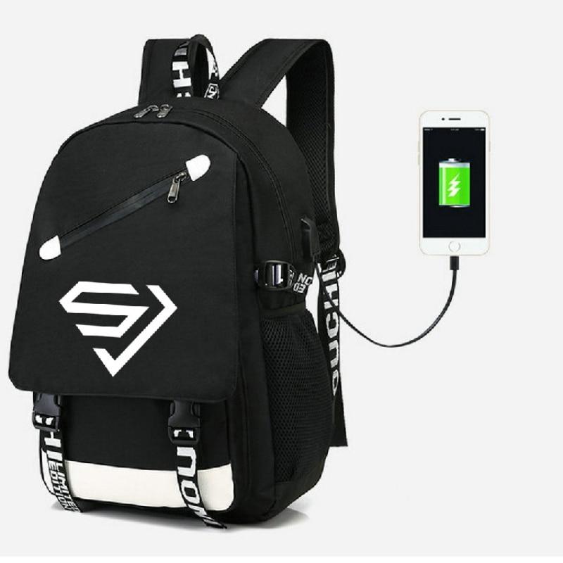 Mainlead KPOP Super Junior Nylon mochila escolar Satchel portátil Casual con agujero USB Jack