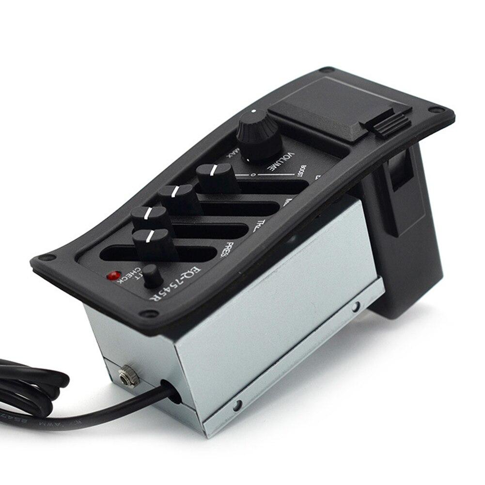 Profissional 4 banda guitarra acústica preamp amplificador eq 7545r captador 6.5mm saída guitarra acústica acessórios monden n5