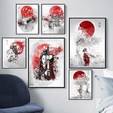 Poster Prints Hot Japanse Zen Inkt Bonsa Bushido Samurai Kanji Canvas Kunst Olieverf Muur Foto 'S Voor Woonkamer Картины