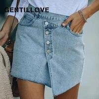 gentillove 2021 women summer casual elegant irregular a line denim skirt pocket bottons high waist sweet solid party club