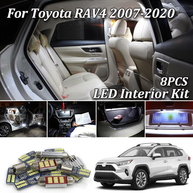 8Pcs White Canbus led Car interior lights Package Kit for Toyota Rav4 RAV 4 RAV-4 2005 - 2017 2018 2019 2020 led interior lights