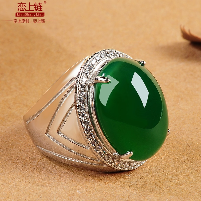 Genunine green jade ring with 925 sterling silver jadeite jade rings jade jewelry brand  natural stone jewelry add certificate