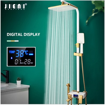 JIENI White LED Digital Shower Set Bathroom Wall Mounted Thermostatic Shower System Hot Cold Mixer Bath Faucet Square Spray