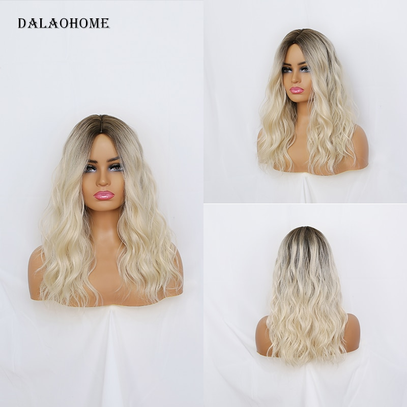Dalaohome Long Wavy Blonde Natural Woman Wig Synthetic Straight Water Wave Wigs Lolita Heat Resistant Fiber Daily Woman Hairs