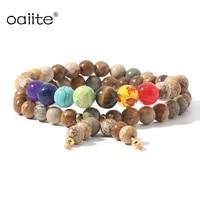 7 chakra bracelet bohemia handmade natural stone tube beads genuine leather wrap bracelet yoga couples bracelets woman or man