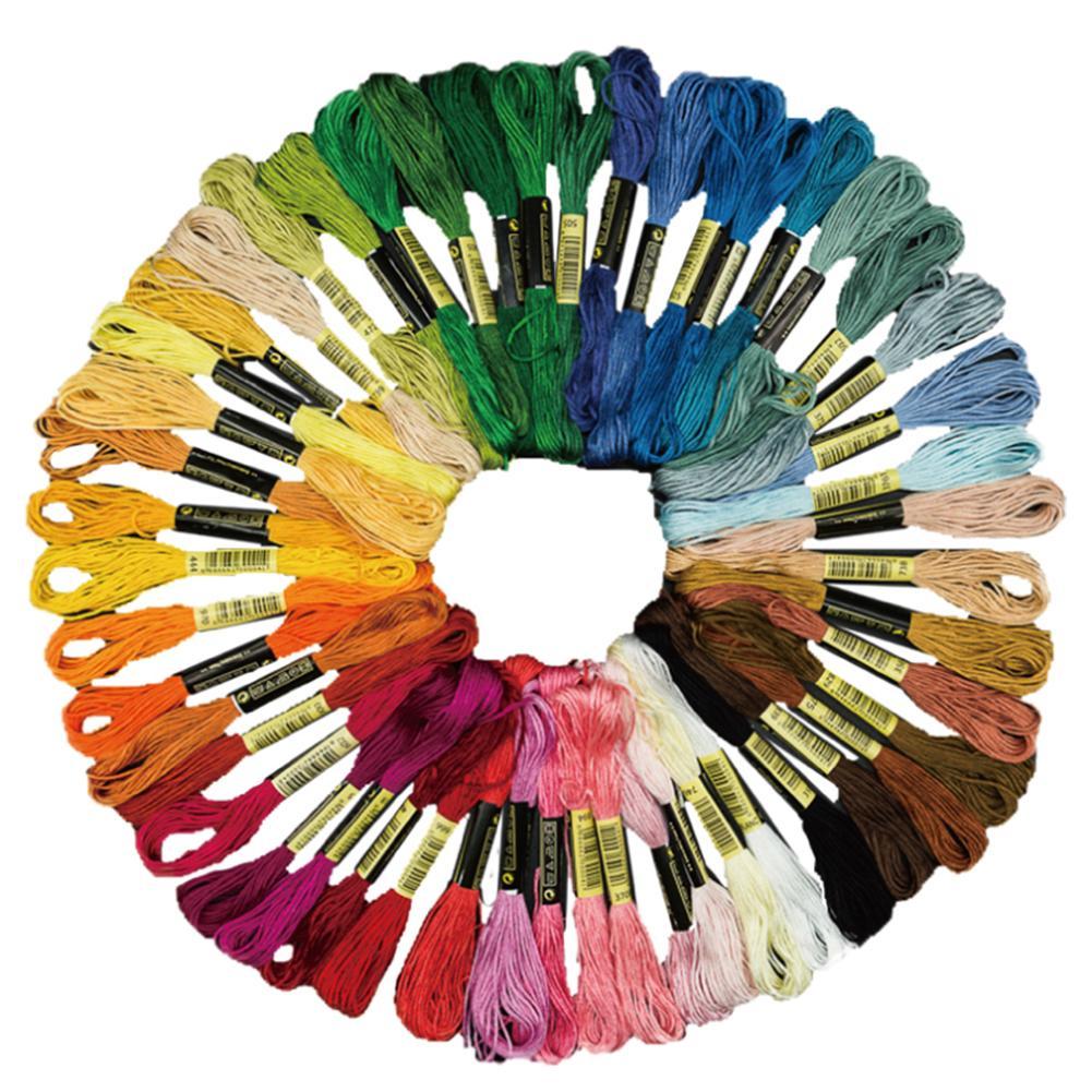 Gran oferta de 50/100 Uds., ovillos de costura de algodón de colores combinados, Kit de hilo de Cruz de punto de cruz de seda, herramientas de costura DIY