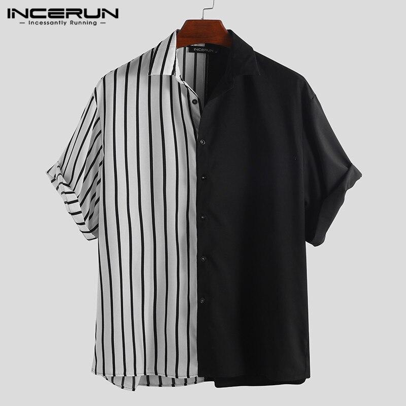 INCERUN moda rayas Patchwork hombres Camisa personalidad manga corta botón suelto Casual marca camisas hombres Camisa Masculina 2020