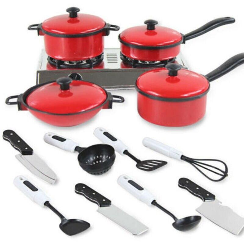 Conjunto de 13 unidades de Mini juguetes de cocina para niños, utensilios de cocina, cacerolas de cocina, ollas, platos, juguetes de cocina para bebés, herramientas de entrenamiento
