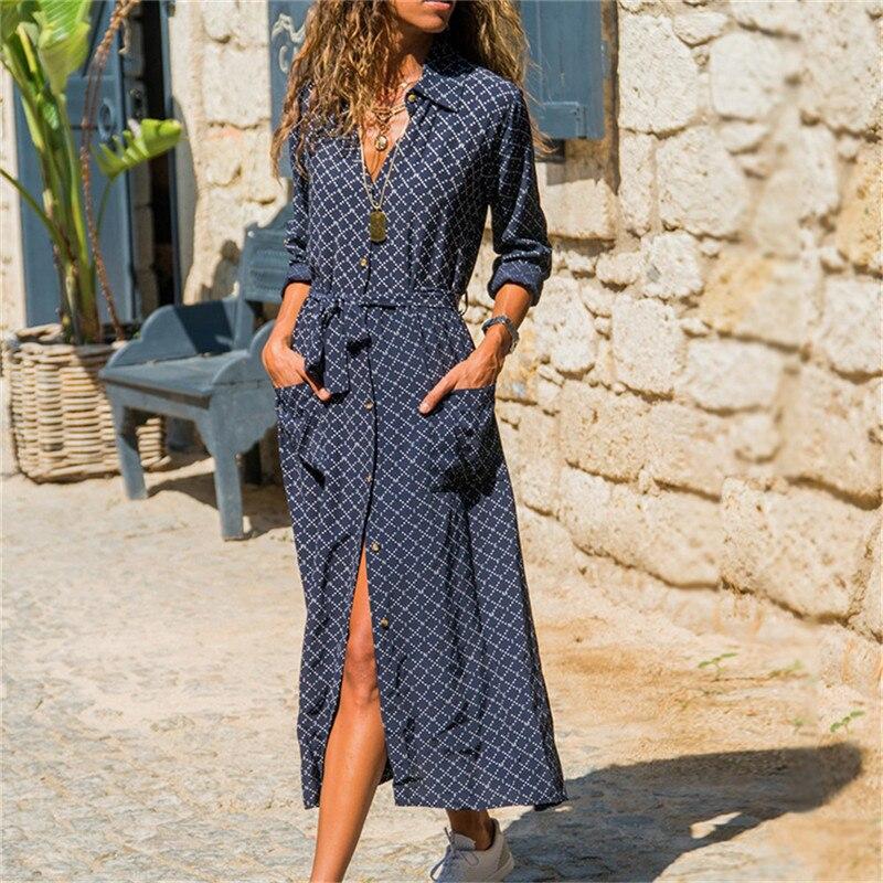 2020 moda feminina escritório senhoras listra com decote em v camisa vestido longo boho praia vestido casual manga longa elegante vestido de festa