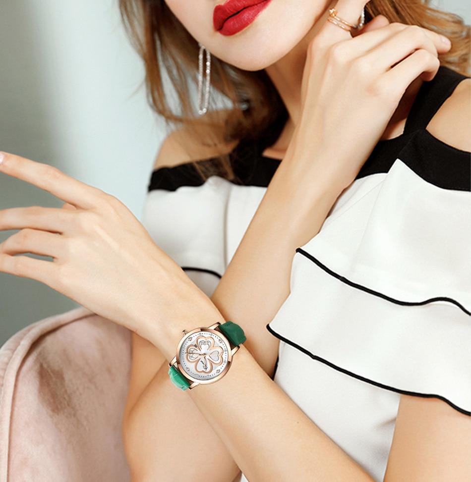 Fashion Gunine Leather Women Watches Red Color Rose Gold Dial Elegant Lady Wristwatch Rhinestone 4 Leaf Grass Casual Girl Clock