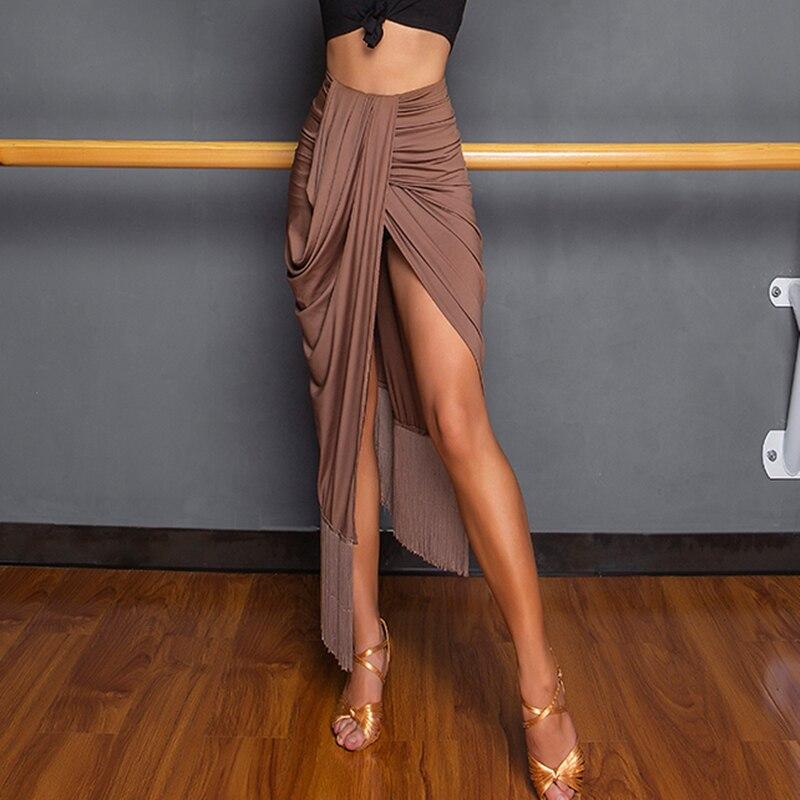 تنورة رقص لاتينية مثيرة للنساء ، ملابس عرض مع شرابات ، شق غير منتظم ، تانجو وسالسا ، شا شا ، سامبا رومبا ، ممارسة ، 2020