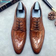 QYFCIOUFU hommes chaussures formelles en cuir véritable Oxford chaussures pour hommes 2019 mariage hommes Brogues chaussures de bureau hommes Crocodile chaussures