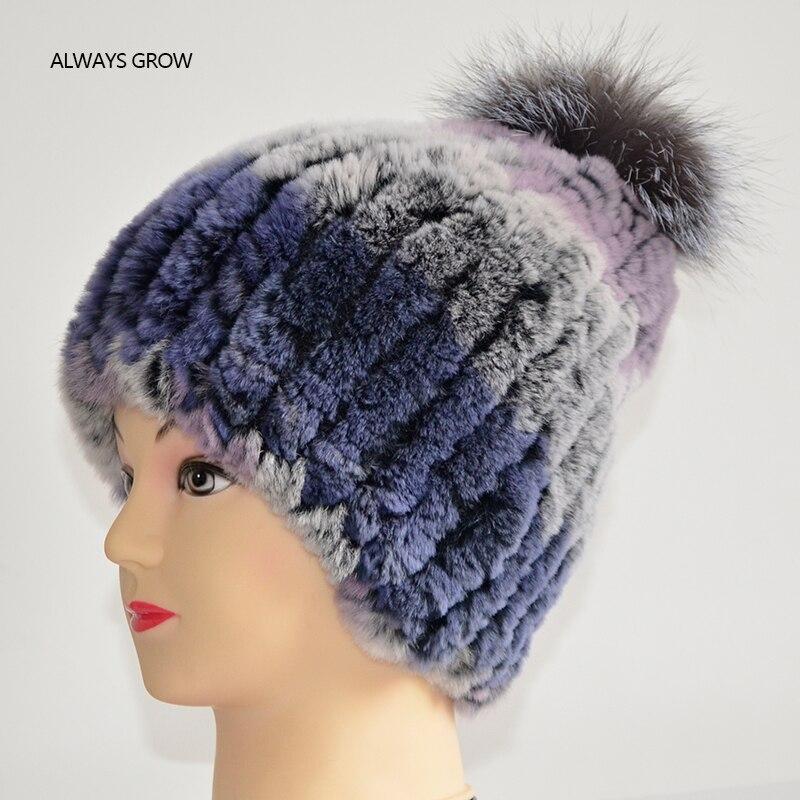 Inverno quente coelho pele chapéu confortável e macio tem elasticidade tem quatro cores
