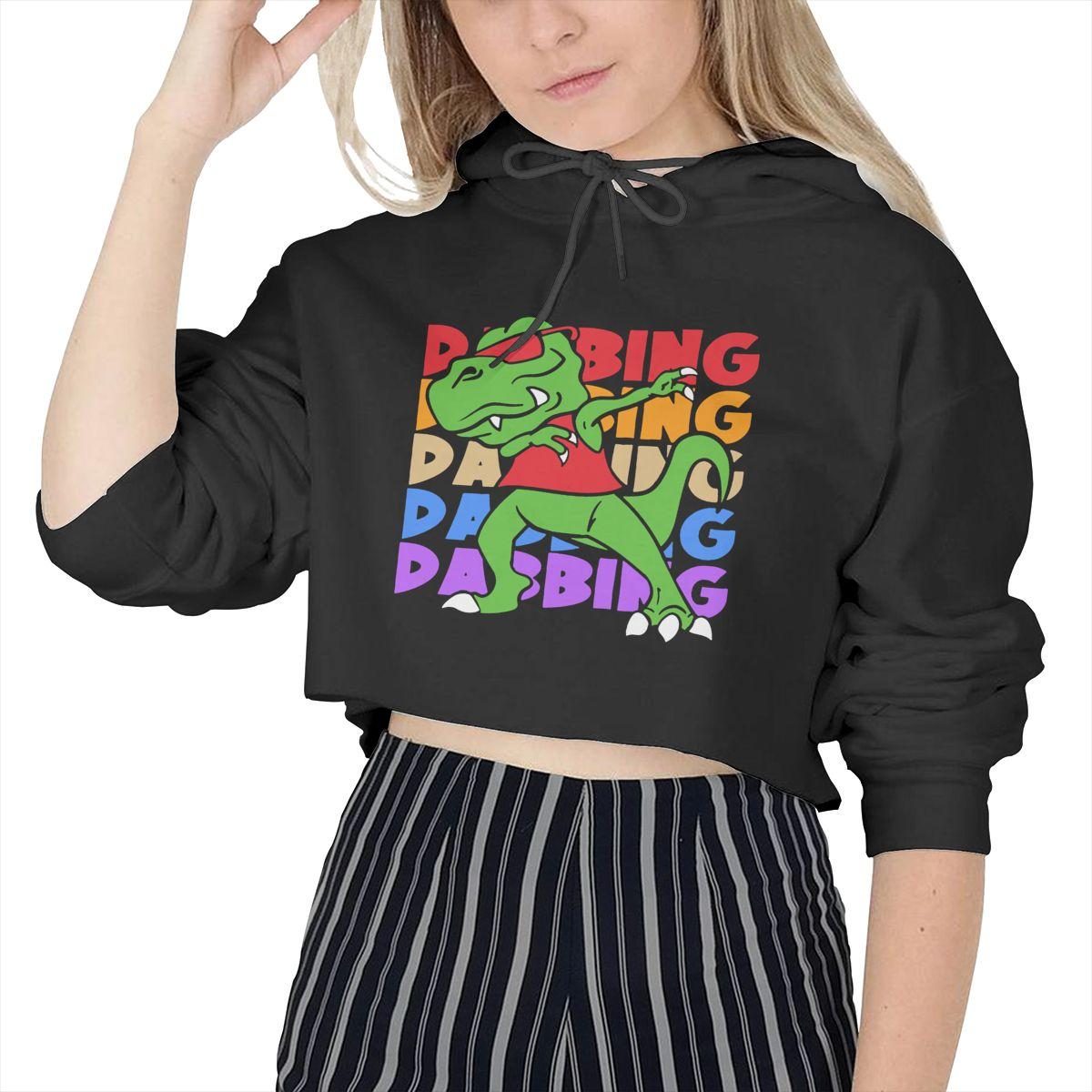 Dabbing Dinosaur T-Rex Womens Casual Cool Classic Logo Cat Ear Cotton Hoodies for Teens Girls Fashion Long Sleeve