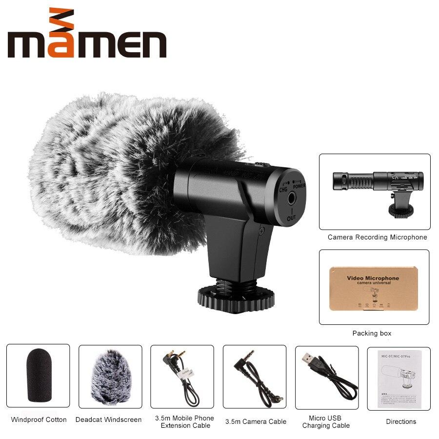 MAMEN Super 3,5 мм микрофон для камеры VLOG фотография интервью цифровой HD видео Запись микрофон для смартфона и камеры