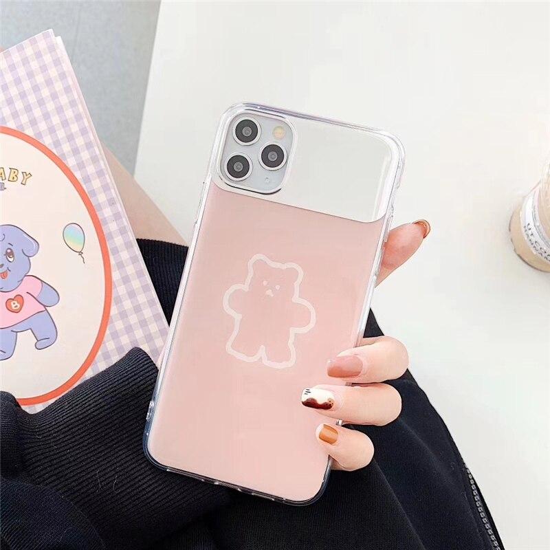 Funda de espejo de maquillaje de oso para iphone 11pro 7 8 plus funda de teléfono para iphone 11 Pro X XR XS Max marrón brillante para mujer