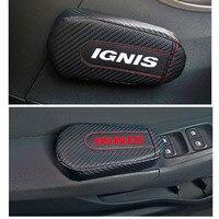 Car Styling for Suzuki Ignis 1pc Carbon Fiber Leather Leg Cushion Knee Pad Armrest Pad Interior Car Accessories