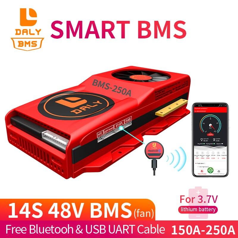 18650 Batterij Smart Bms 14S 48V Gratis Bluetooth Batterij Bescherming Boord Lithium Li Ion Batterijen 3.7V 150A 200A 250A